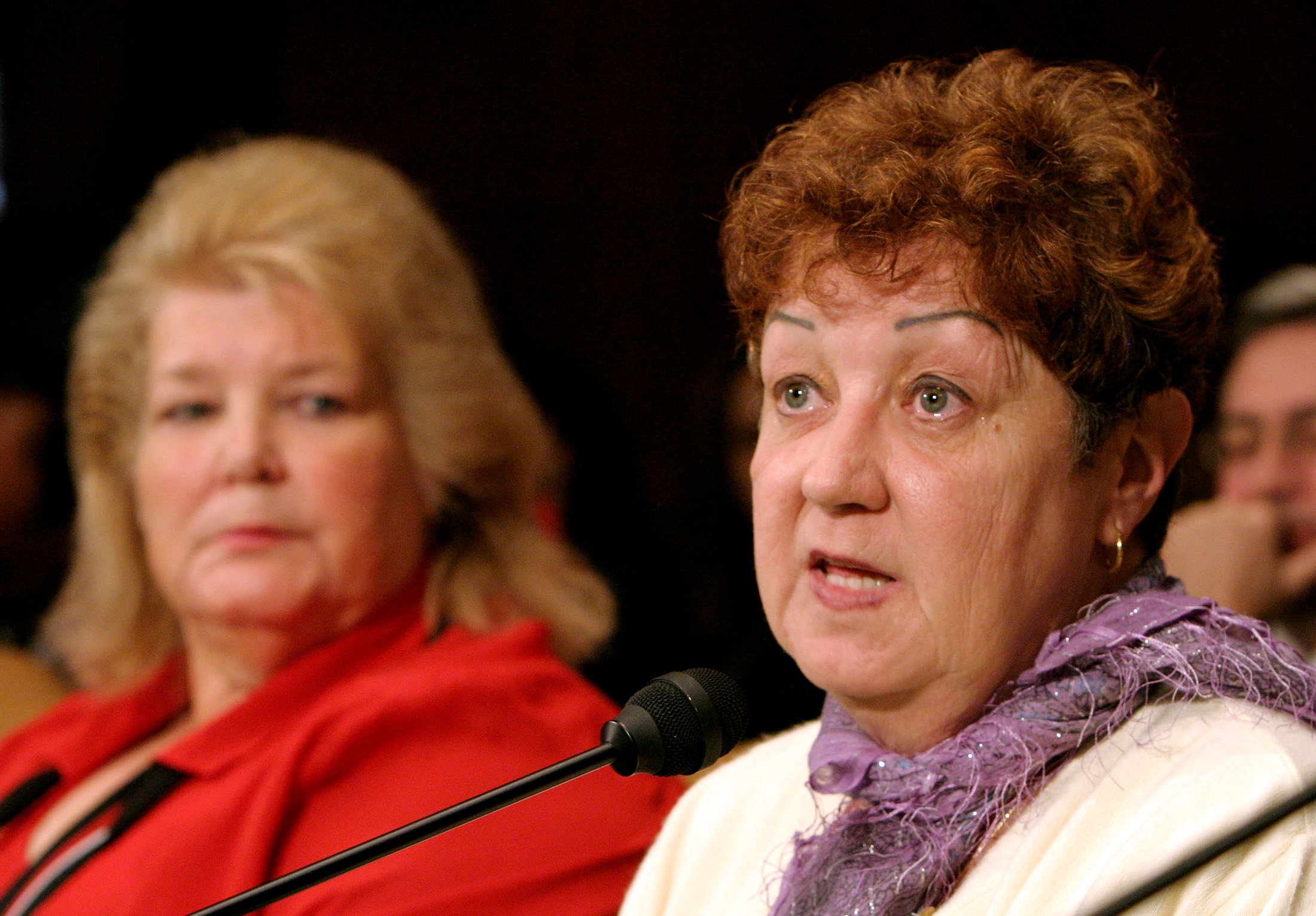 "Norma McCorvey, the anonymous plaintiff known as Jane Roe in the Supreme Court's landmark 1973 Roe vs. Wade ruling legalizing abortion in the United States, testifies before the Senate Judiciary Committee along with Sandra Cano of Atlanta, Georgia, the ""Doe"" in the Doe v. Bolton Supreme Court case, on Capitol Hill in Washington, DC, U.S. on June 23, 2005."