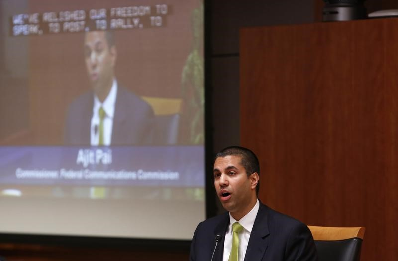 File Photo: Ajit Pai speaks at a FCC Net Neutrality hearing in Washington February 26, 2015. REUTERS/Yuri Gripas