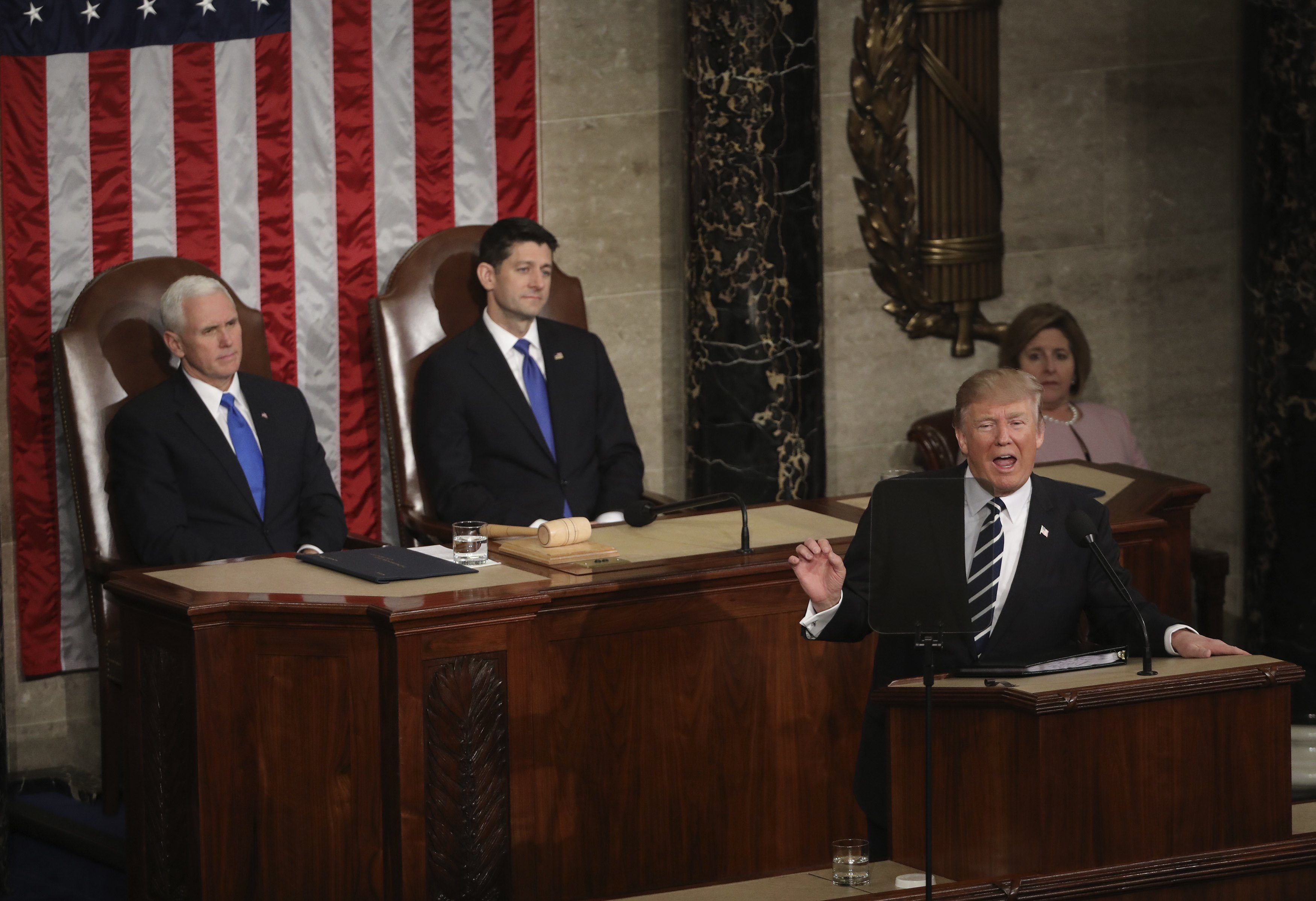 President Trump addresses Joint Session of Congress. REUTERS/Carlos Barria