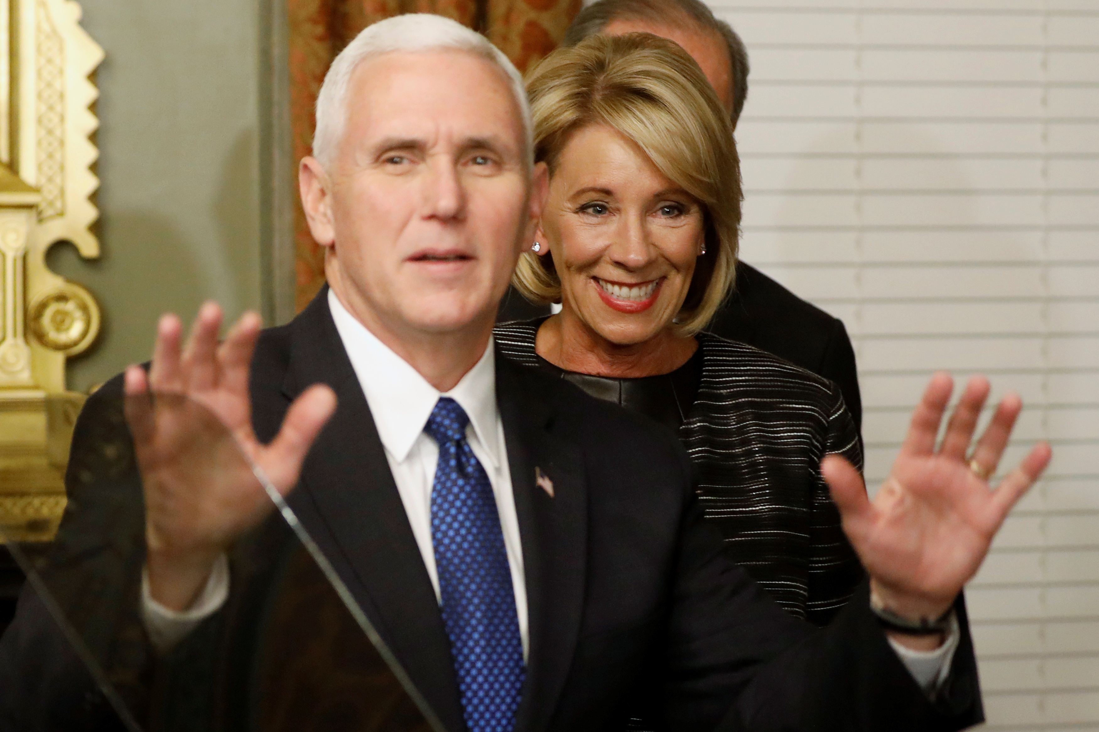 DAY 19 / FEBRUARY 7: Vice President Mike Pence was called in to break a Senate vote tie that threatened to defeat the confirmation of billionaire Betsy DeVos as education secretary.