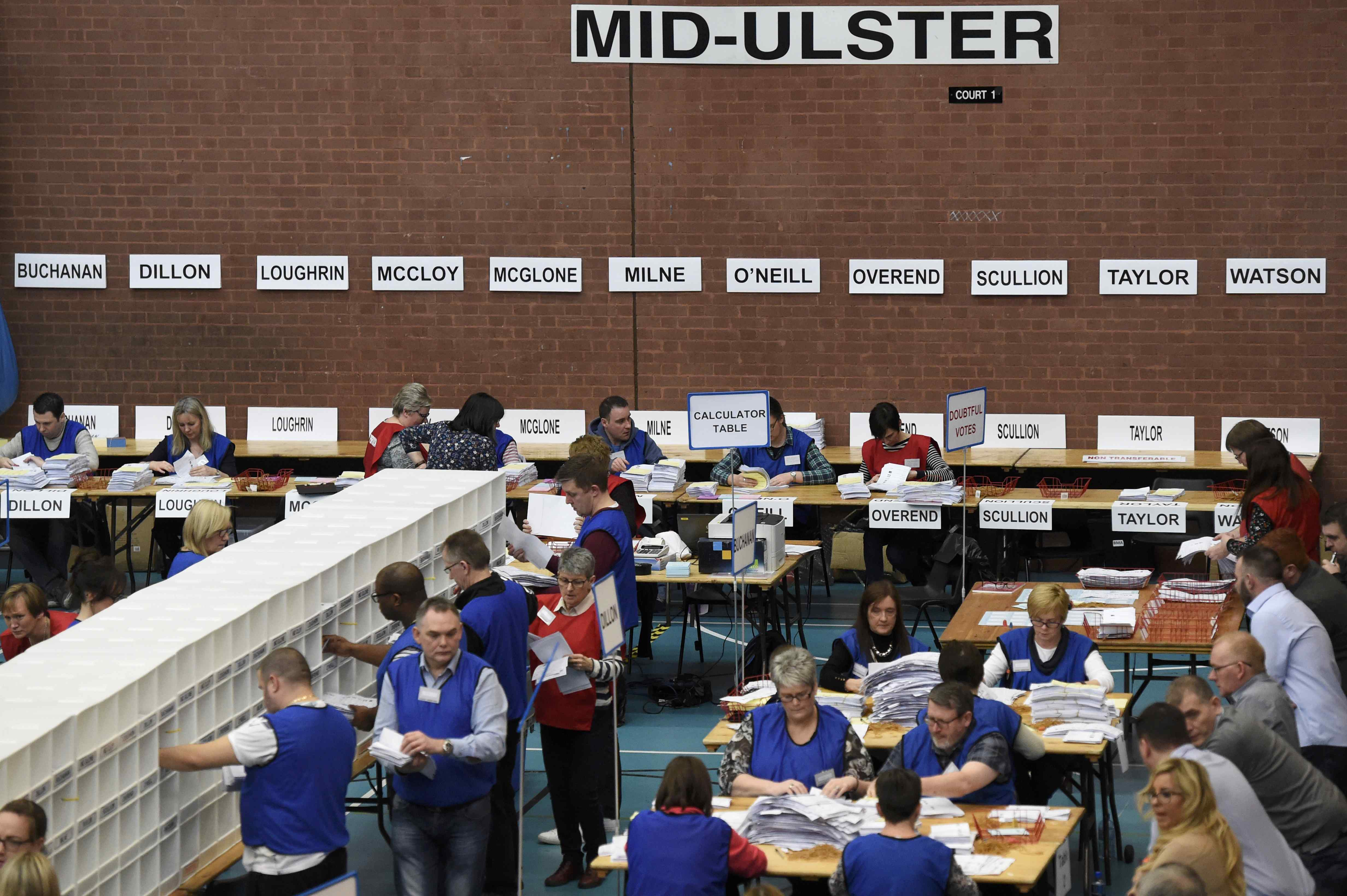 Tellers count ballots in the Northern Ireland assembly elections, in Ballymena, Northern Ireland March 3, 2017. REUTERS/Clodagh Kilcoyne