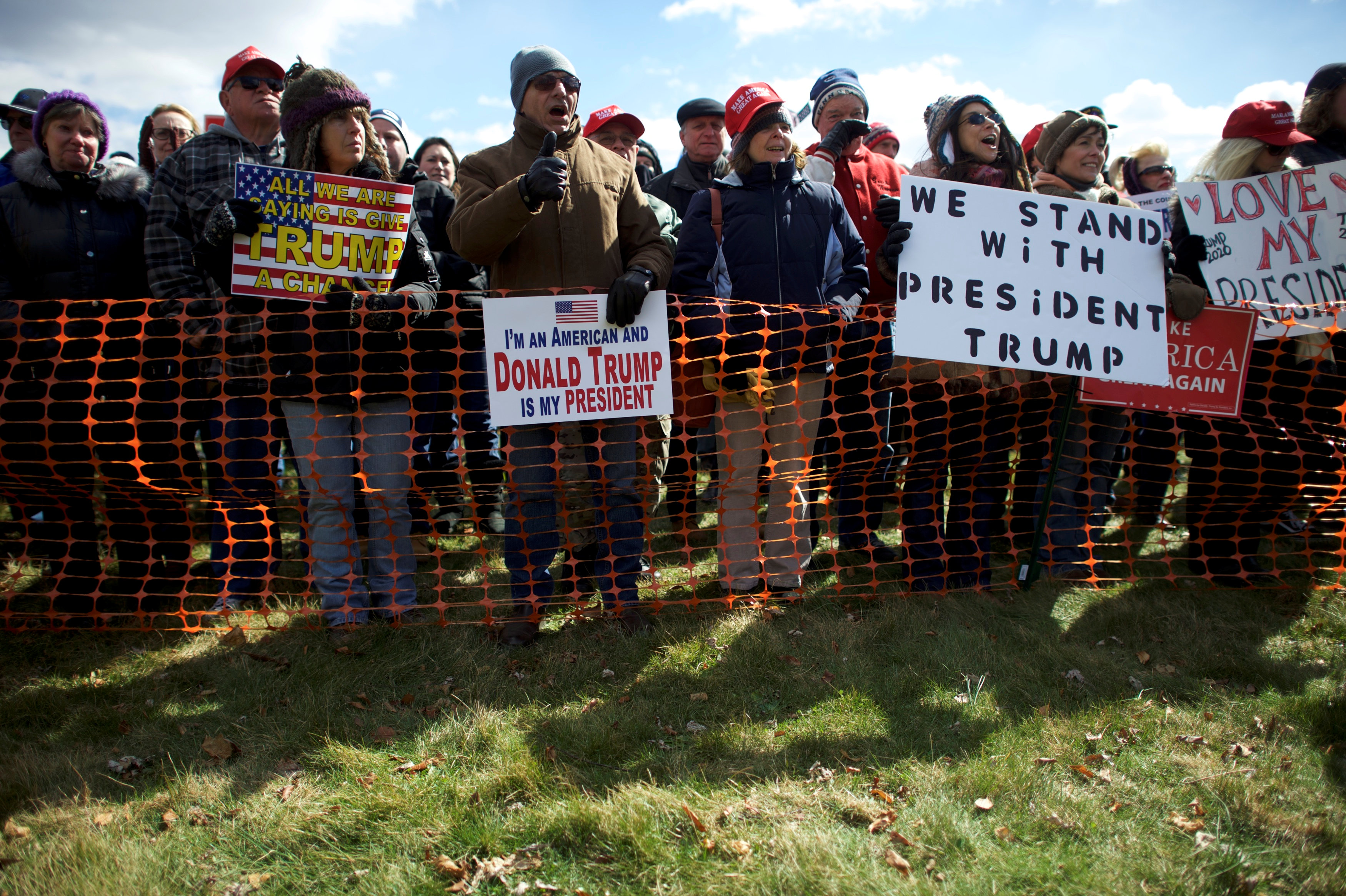 """Supporters of President Donald Trump gather for a """"People 4 Trump"""" rally at Neshaminy State Park in Bensalem, Pennsylvania, U.S. March 4, 2017. REUTERS/Mark Makela"""