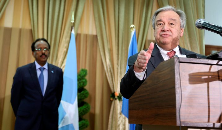 U.N. Secretary general Antonio Guterres addresses a news conference after his meeting with Somali President Mohamed Abdullahi Mohamed (L) in Somalia's capital Mogadishu March 7, 2017 REUTERS/Feisal Omar