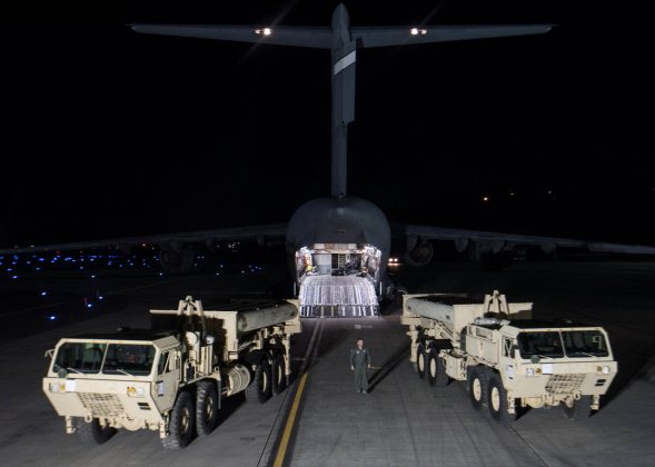 Terminal High Altitude Area Defense (THAAD) interceptors arrive at Osan Air Base in Pyeongtaek, South Korea, in this handout picture provided by the United States Forces Korea