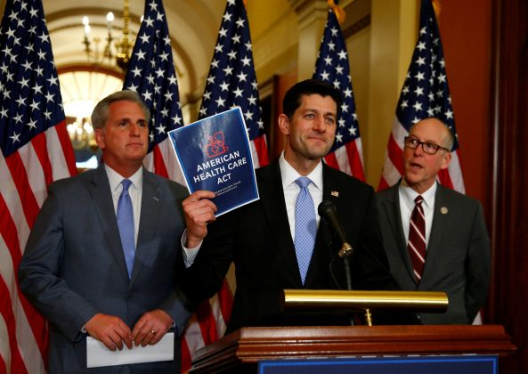 (L-R)U.S. House Majority Leader Kevin McCarthy, U.S. House Speaker Paul Ryan, and U.S. Representative Greg Walden hold a news conference on the American Health Care Act on Capitol Hill in Washington, U.S. March 7, 2017. REUTERS/Eric Thayer