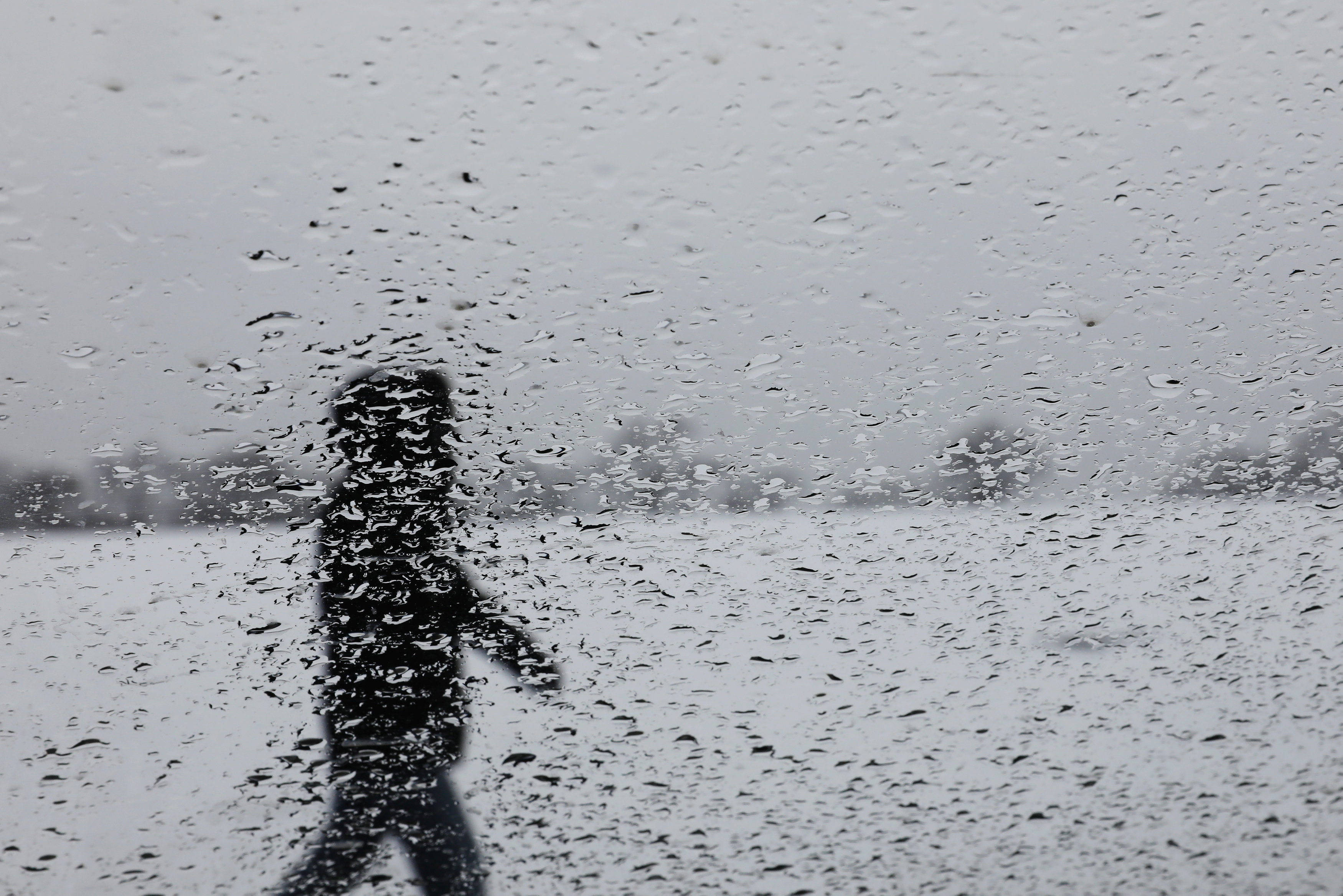 A woman is seen through a snow soaked car window walking in the snow at Cunningham Park in the borough of Queens in New York, U.S.