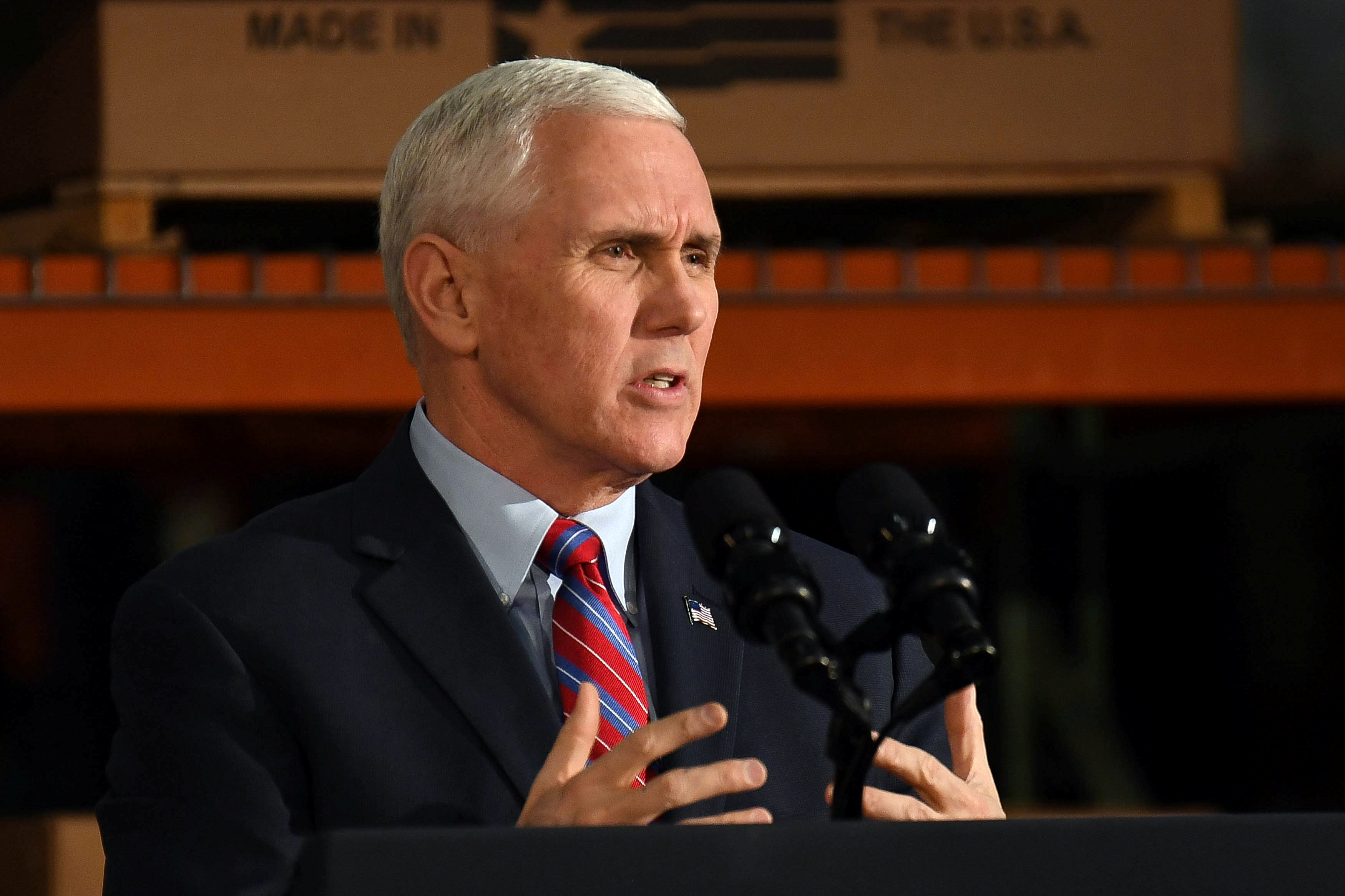 U.S. Vice President Mike Pence speaks about the American Health Care Act during a visit to the Harshaw-Trane Parts and Distribution Center in Louisville, Kentucky, U.S