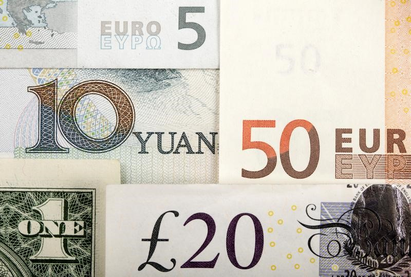 Arrangement of various world currencies including Chinese Yuan, US Dollar, Euro, British Pound,