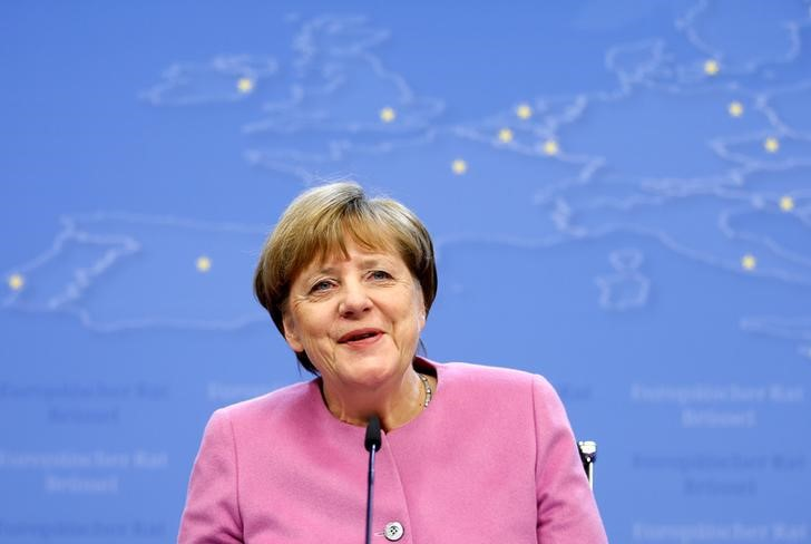 Germany's Chancellor Angela Merkel briefs the media during a European Union leaders summit in Brussels, Belgium March 9, 2017.
