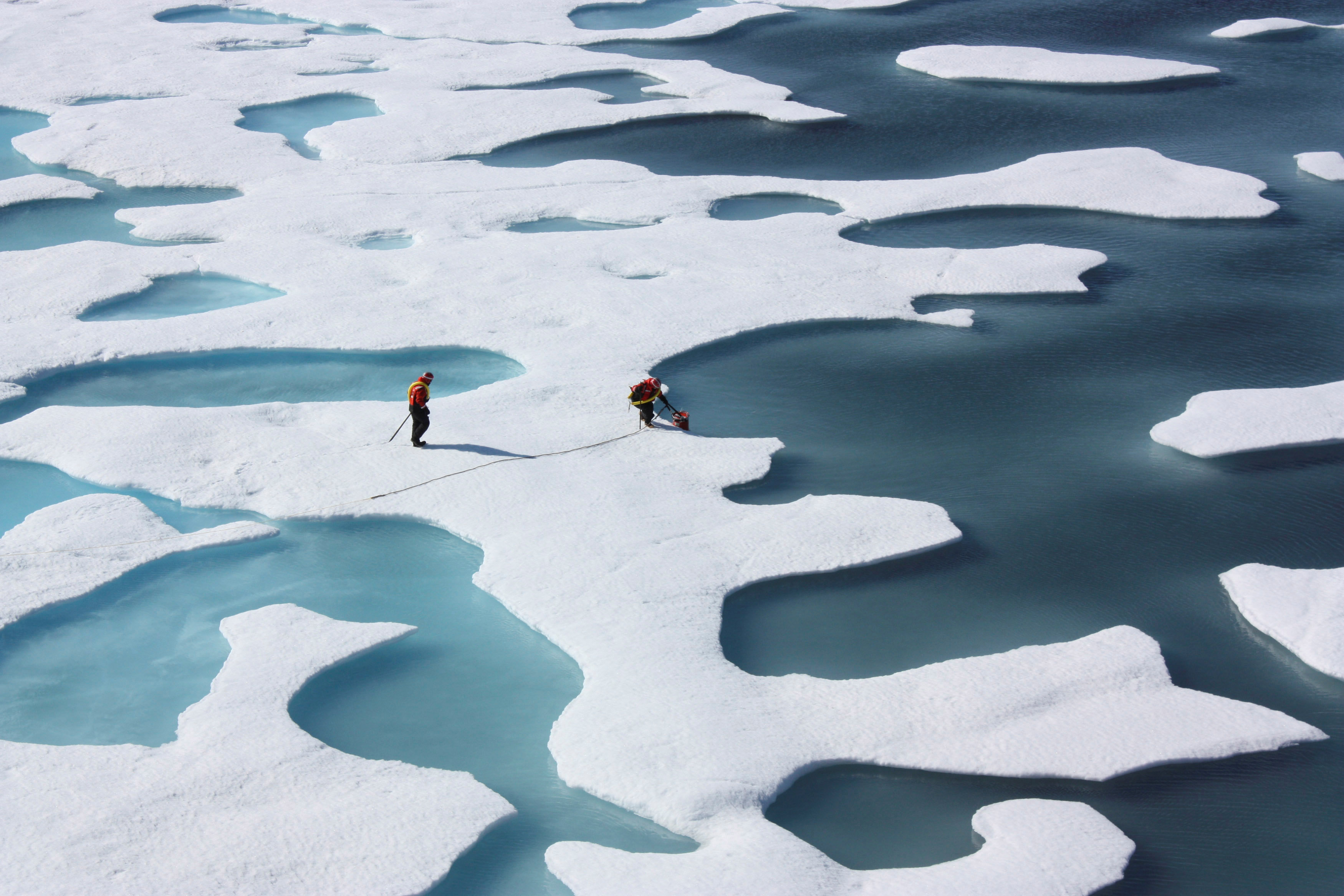 FILE PHOTO: The crew of the U.S. Coast Guard Cutter Healy, in the midst of their ICESCAPE mission, retrieves supplies for some mid-mission fixes dropped by parachute from a C-130 in the Arctic Ocean in this July 12, 2011 NASA handout photo obtained by Reuters June 11, 2012. NASA/Kathryn Hansen/Handout via REUTERS/File Photo