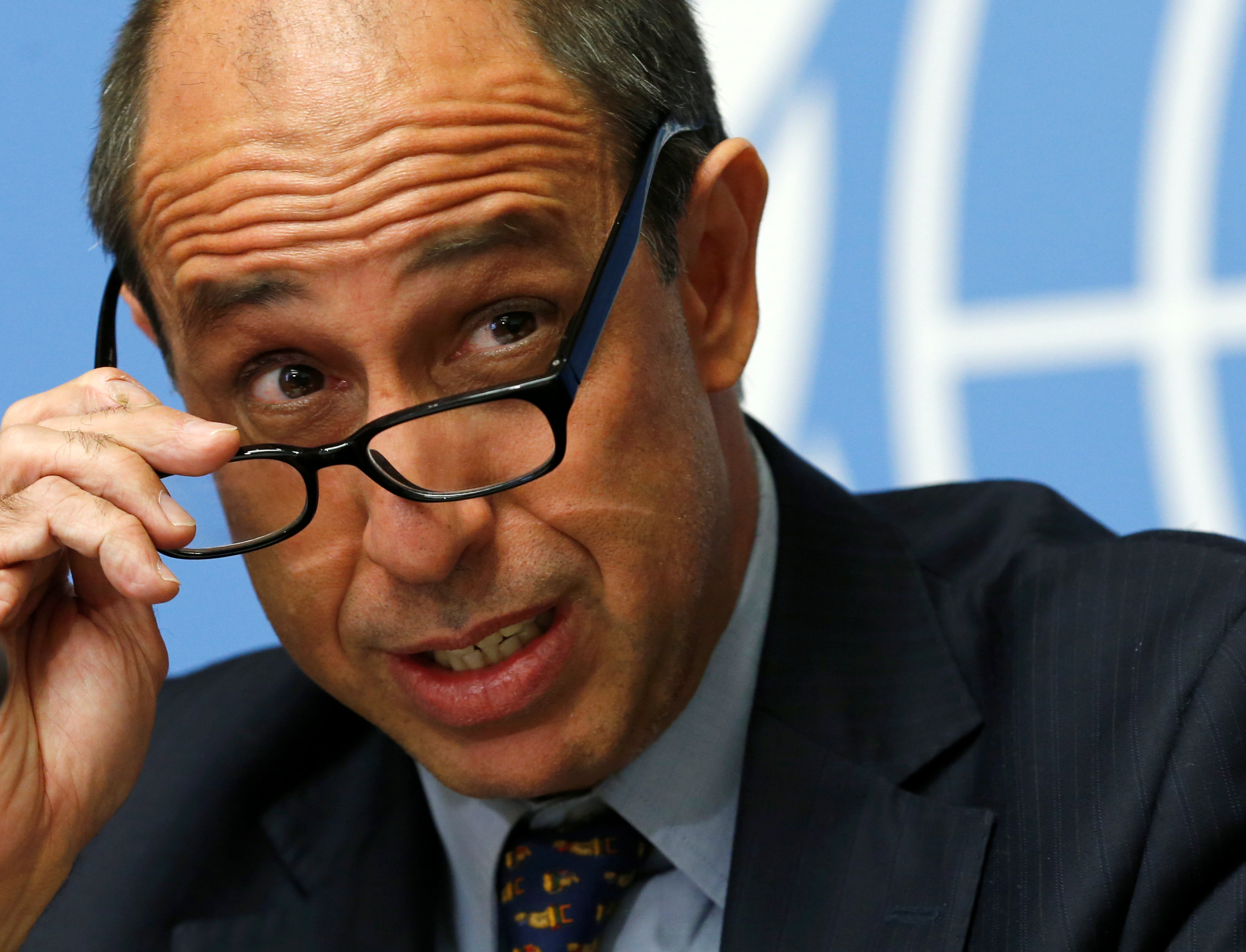 Special Rapporteur on the situation of human rights in North Korea Tomas Ojea Quintana addresses a news conference after his report to the Human Rights Council at the United Nations in Geneva, Switzerland,