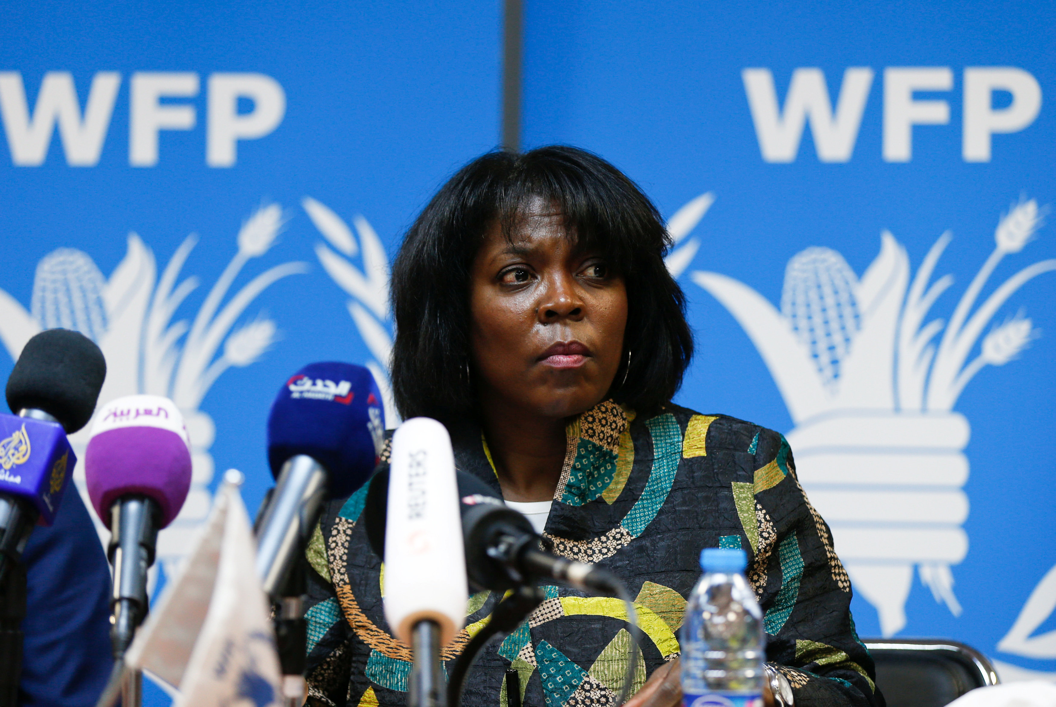 Ertharin Cousin, Executive Director of the United Nations World Food Programme, speaks during a news conference discussing the latest challenges the agency is facing in Yemen, in ?Amman, Jordan, March 13, 2017. REUTERS/Muhammad Hamed