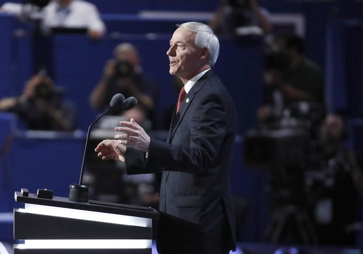 Governor Asa Hutchinson (R-AR) speaks at the Republican National Convention in Cleveland, Ohio, U.S. July 19, 2016. REUTERS/Jim Young
