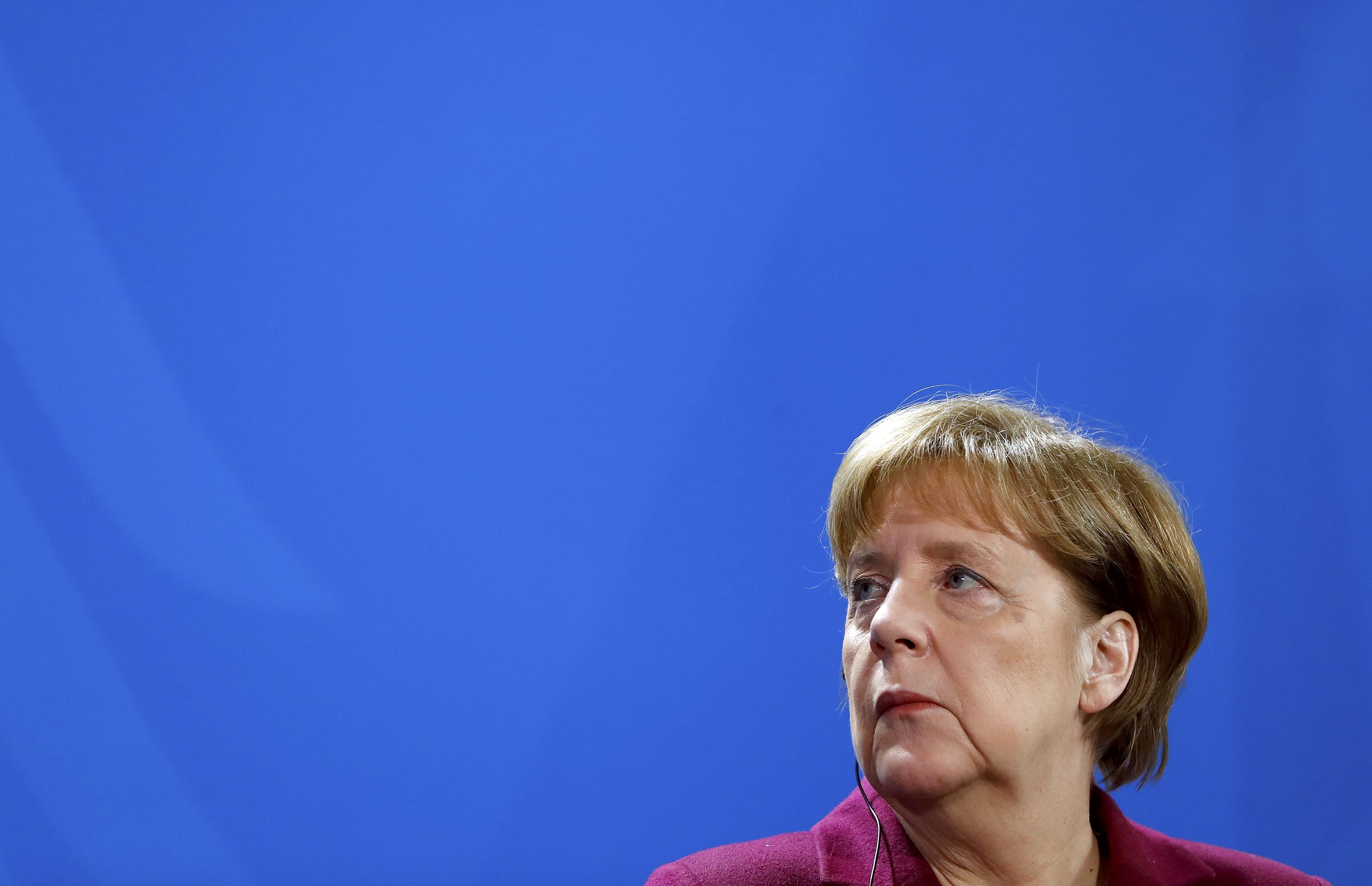 German Chancellor Angela Merkel gives a statement at the Chancellery in Berlin. REUTERS/Fabrizio Bensch