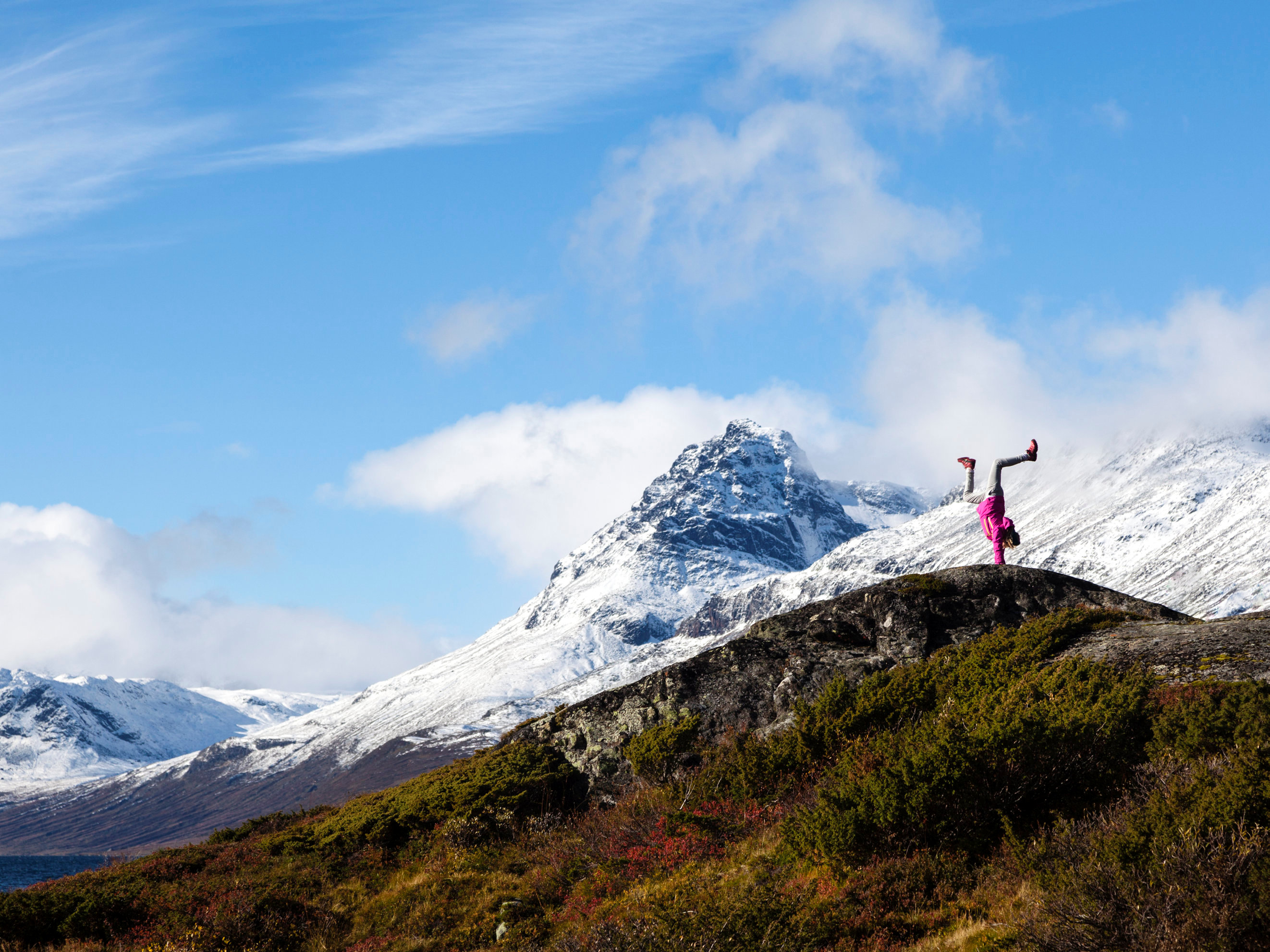 A girl stands on her hands near Vang, Norway. Svein