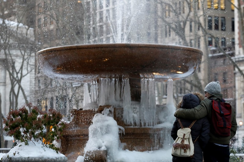 A couple embraces in front of an ice-covered fountain in Bryant Park in New York City, U.S.