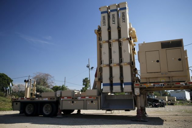 An inactive version of Israel's air defense system, David's Sling, jointly developed with the United States, is seen at Hatzor air base near Tel Aviv
