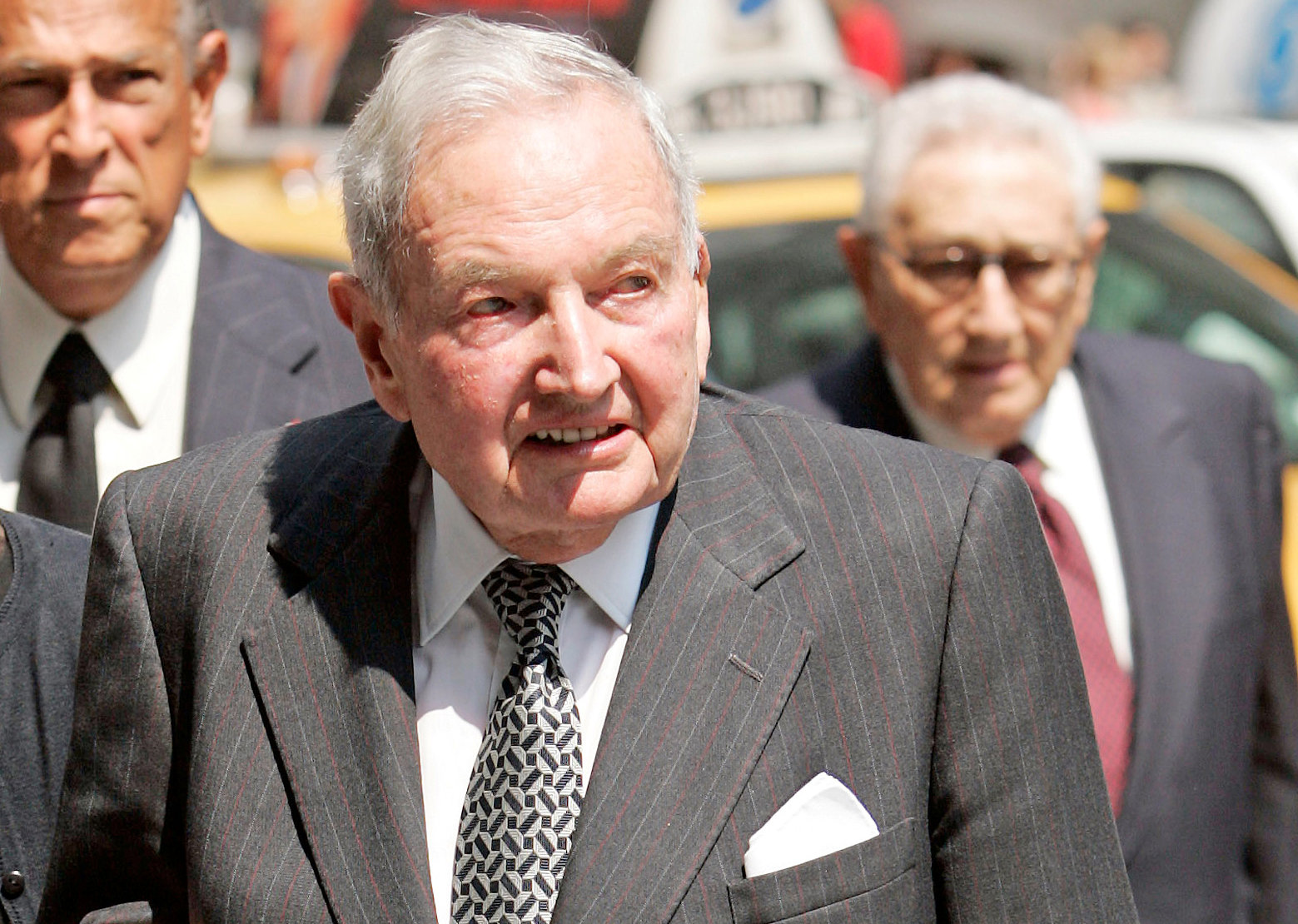 FILE PHOTO -- David Rockefeller arrives at the funeral service for New York socialite and philanthropist Brooke Astor at St. Thomas