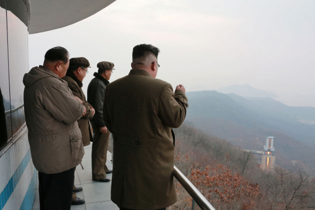 North Korean leader Kim Jong Un watched the ground jet test of a Korean-style high-thrust engine newly developed by the Academy of the National Defence Science in this undated picture provided by KCNA in Pyongyang on March 19, 2017.