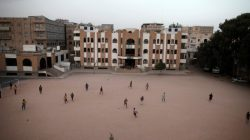 Boys play football in the yard of The al-Shawkani Foundation for Orphans Care in Sanaa, Yemen, January 24, 2017. REUTERS/Khaled Abdullah