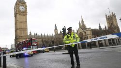 Police tapes off Parliament Square after reports of loud bangs, in London, Britain, March 22, 2017. REUTERS/Stefan Wermuth