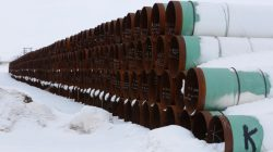 A depot used to store pipes for Transcanada Corp's planned Keystone XL oil pipeline is seen in Gascoyne, North Dakota, January 25, 2017. REUTERS/Terray Sylvester