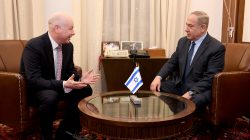 Jason Greenblatt (L), U.S. President Donald Trump's Middle East envoy meets Israeli Prime Minister Benjamin Netanyahu at the Prime Minister's Office in Jerusalem March 13, 2017. Courtesy Matty Stern/U.S. Embassy Tel Aviv/Handout via REUTERS