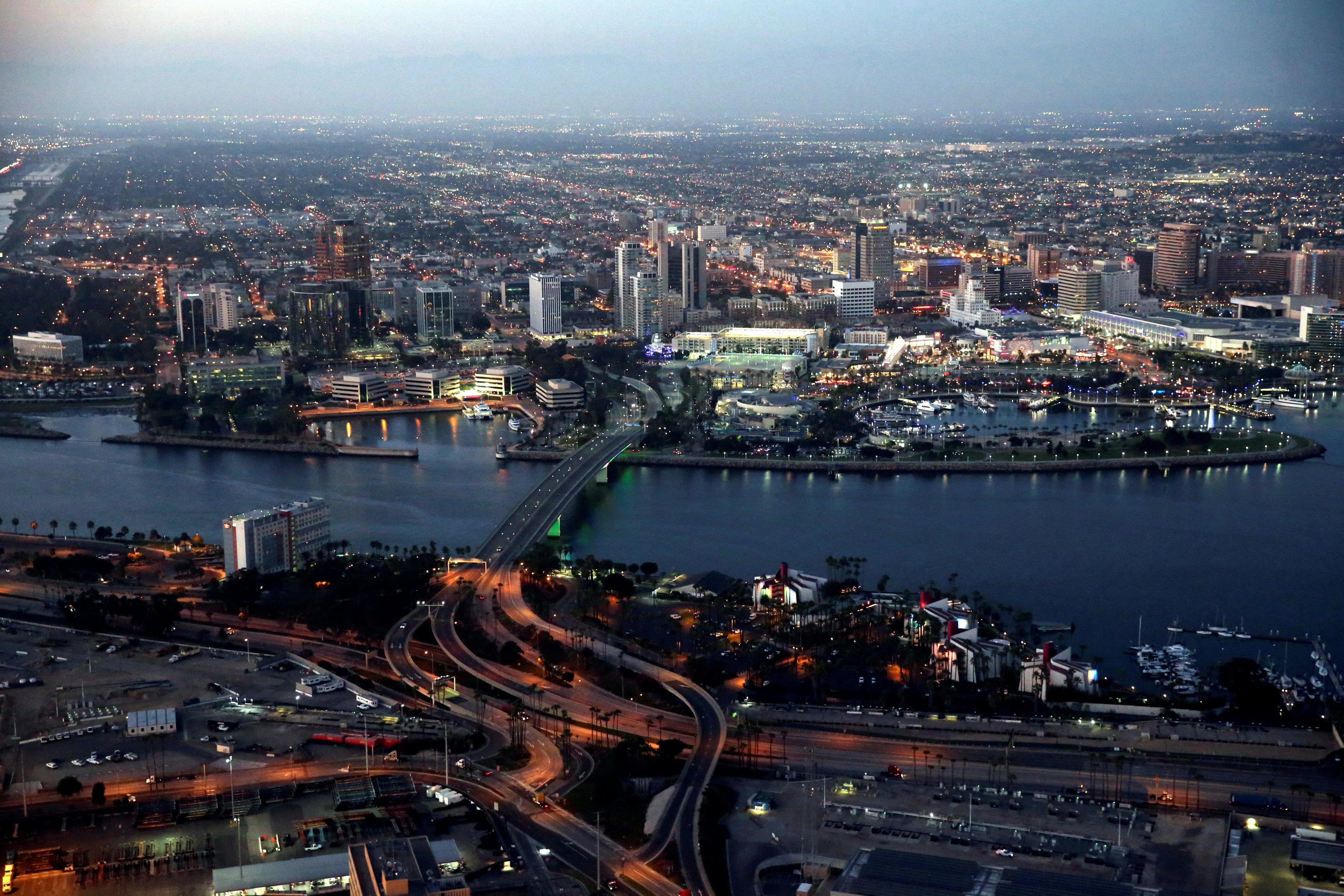 The city of Long Beach is seen at dusk, California, U.S., September 8, 201