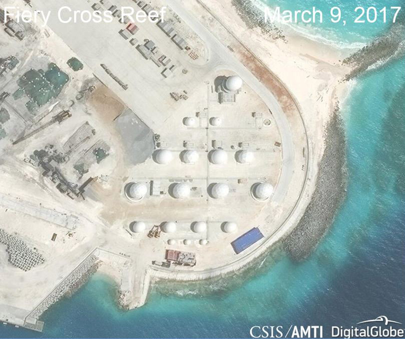 Construction is shown on Fiery Cross Reef, in the Spratly Islands, the disputed South China Sea. CSIS/AMTI DigitalGlobe/Handout via REUTERS