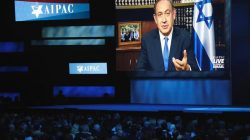 Israeli Prime Minister Benjamin Netanyahu speaks via a video link from Israel. REUTERS/Joshua Roberts