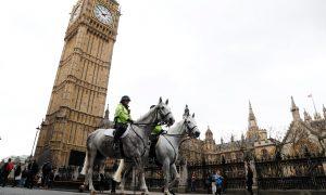 Police on horseback patrol near Westminster Bridge in London, Britain, March 29, 2017. REUTERS/Peter Nicholls