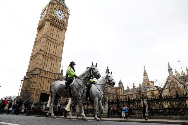 Police on horseback patrol near Westminster Bridge in London, Britain, March 29, 2017. REUTERS/Peter Nicholls