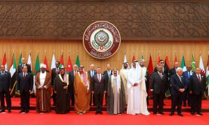 (front R-L) Yemen's President Abd-Rabbu Mansour Hadi, Palestinian President Mahmoud Abbas, Djibouti's President Ismail Omar Guelleh, Qatari Emir Sheikh Tamim bin Hamad al-Thani, Emir of Kuwait Sabah Al-Ahmad Al-Jaber Al-Sabah, Jordan's King Abdullah II, Saudi Arabia's King Salman bin Abdulaziz Al Saud, Bahrain's King Hamad bin Isa Al Khalifa, Sudan's President Omar Al Bashir, Egypt's President Abdel Fattah al-Sisi, and Mauritania's President Mohamed Ould Abdel Aziz pose for a group photograph during the 28th Ordinary Summit of the Arab League at the Dead Sea, Jordan March 29, 2017. REUTERS/Mohammad Hamed