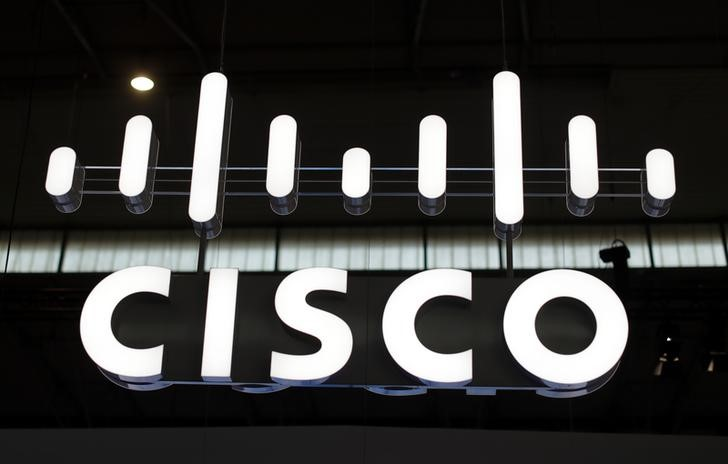 The logo of Cisco is seen at Mobile World Congress in Barcelona, Spain, February 27, 2017. REUTERS/Eric Gaillard