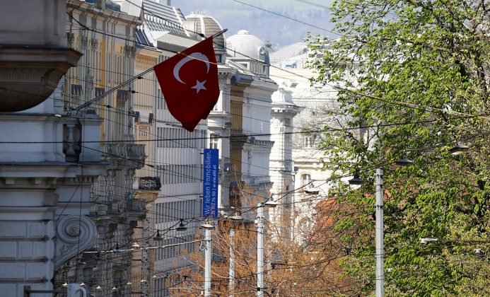 The Turkish flag is seen outside their embassy in Vienna, Austria, March 31, 2017. REUTERS/Leonhard Foeger