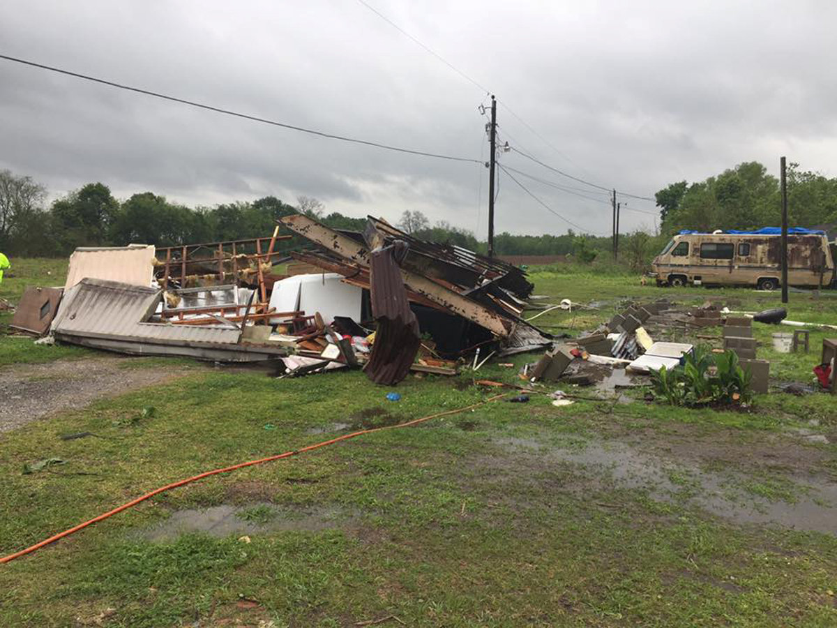 A trailer home where two people were killed after a possible tornado, is damaged in Breaux Bridge, St. Martin Parish, Louisiana, U.S.,
