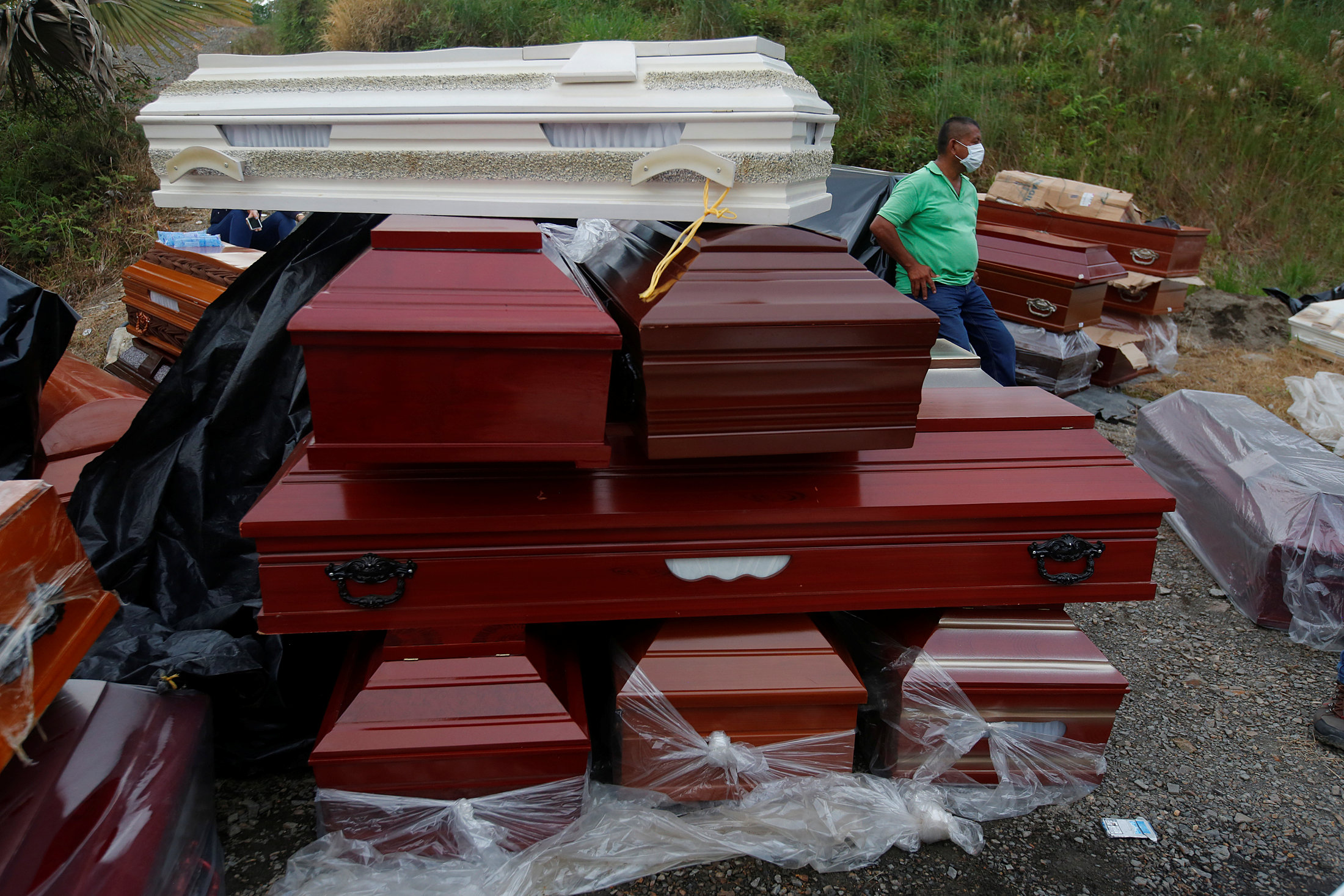 New coffins for reburials, are seen in a cemetery after flooding and mudslides caused by heavy rains leading several rivers to overflow, pushing sediment and rocks into buildings and roads, in Mocoa, Colombia April 3, 2017. REUTERS/Jaime Saldarriaga