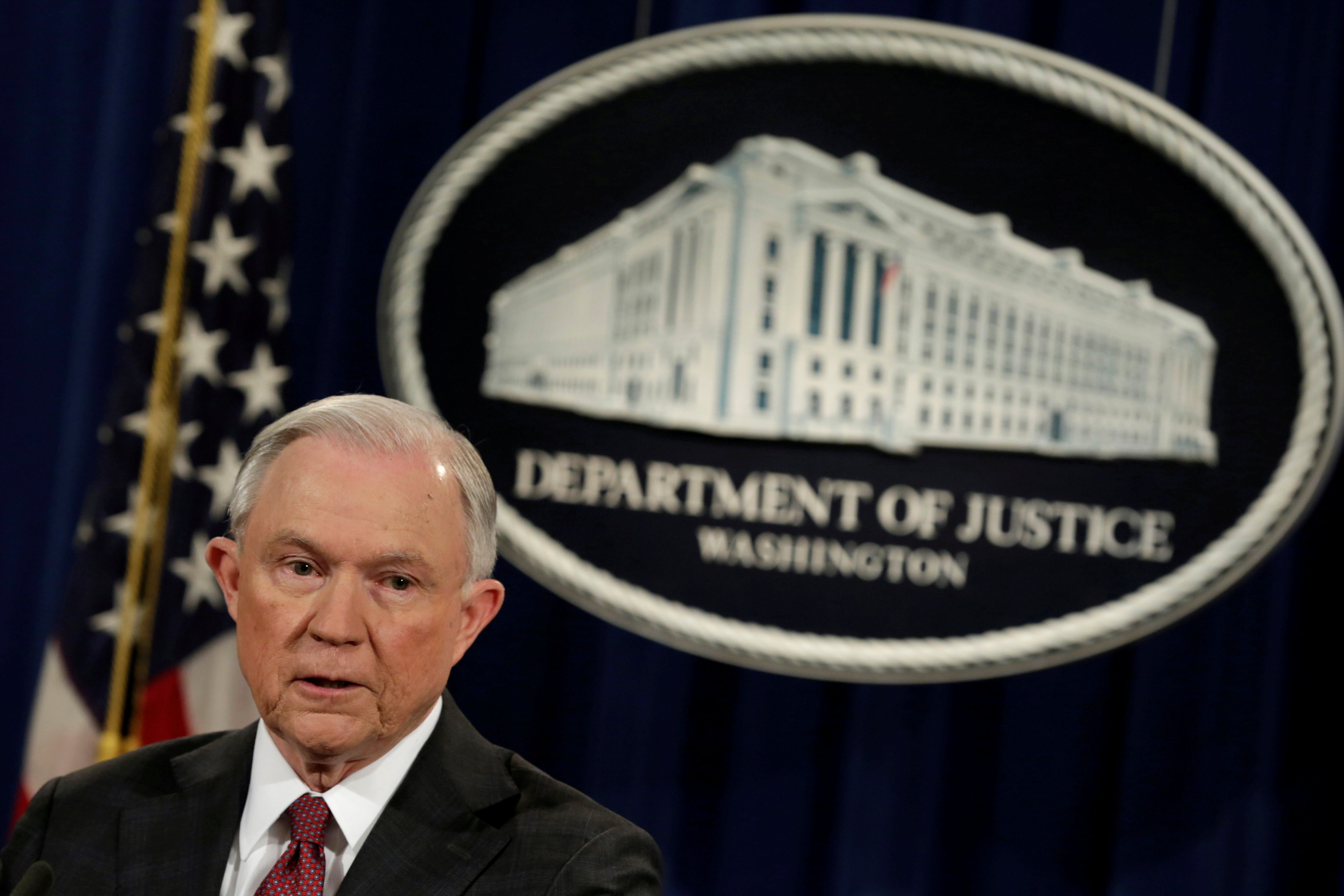 FILE PHOTO: U.S. Attorney General Jeff Sessions speaks at a news conference at the Justice Department in Washington, U.S., March 2, 2017. REUTERS/Yuri Gripas/File Photo