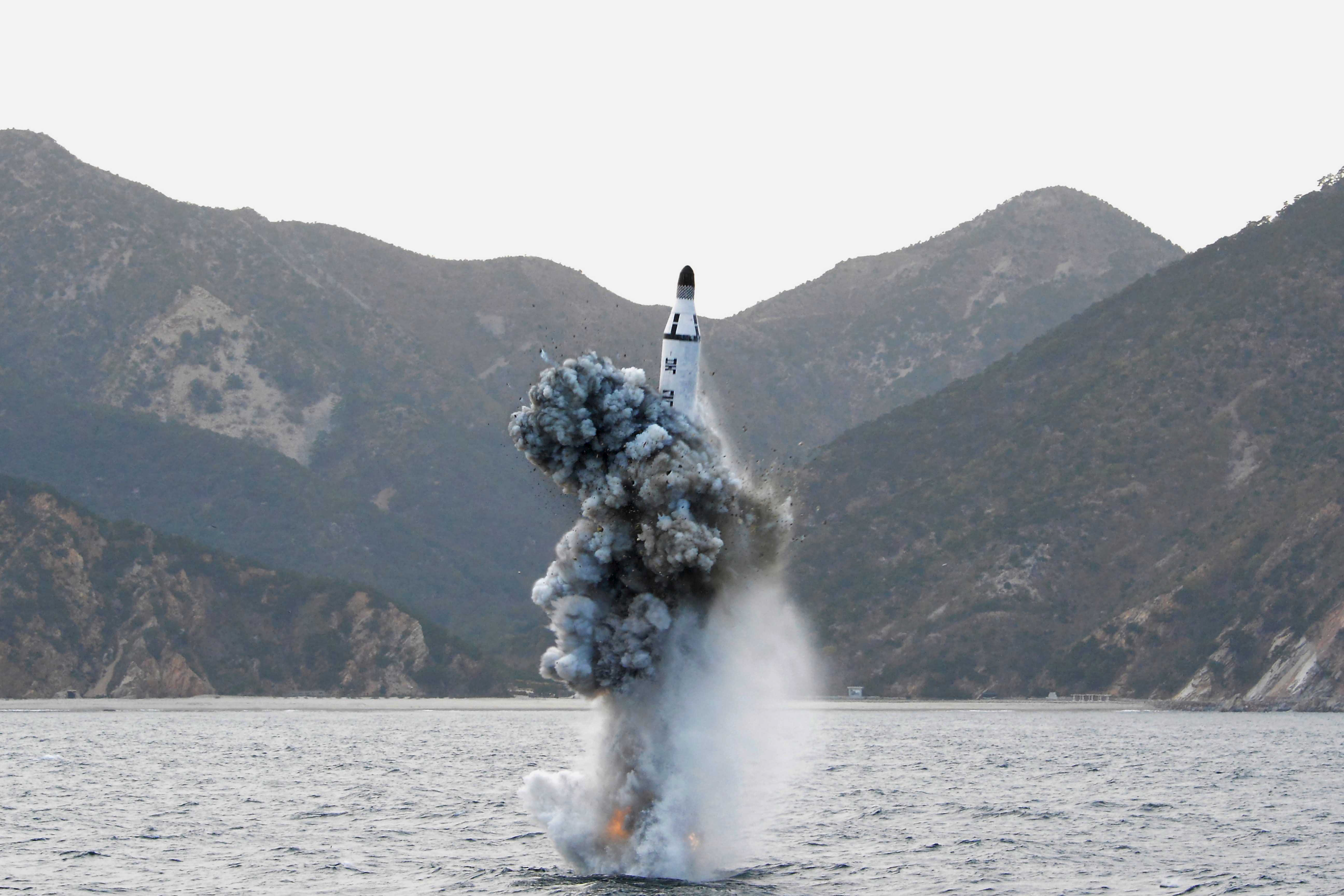 An underwater test-firing of a strategic submarine ballistic missile. KCNA via REUTERS
