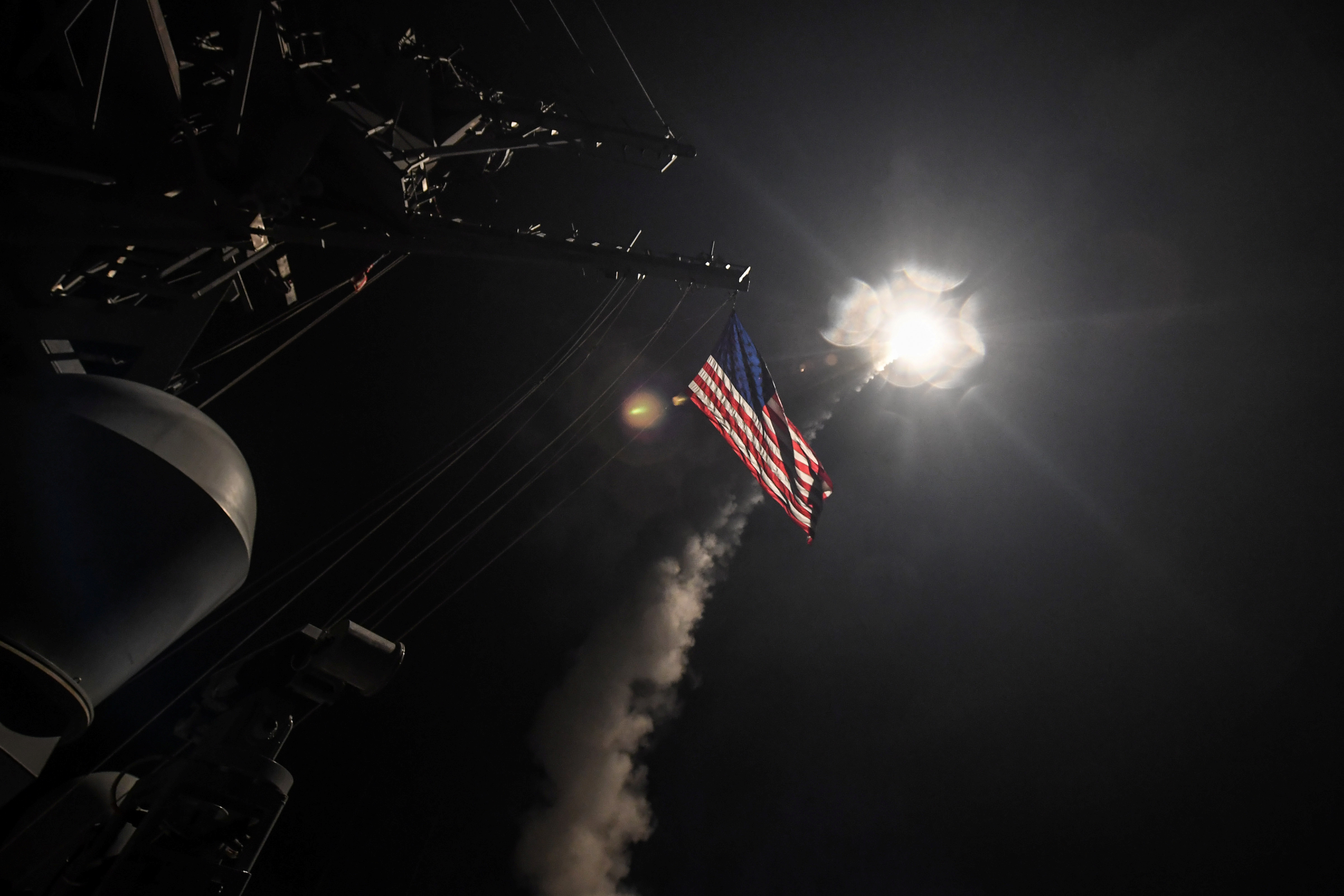 U.S. Navy guided-missile destroyer USS Porter conducts strike operations against Syria while in the Mediterranean Sea.