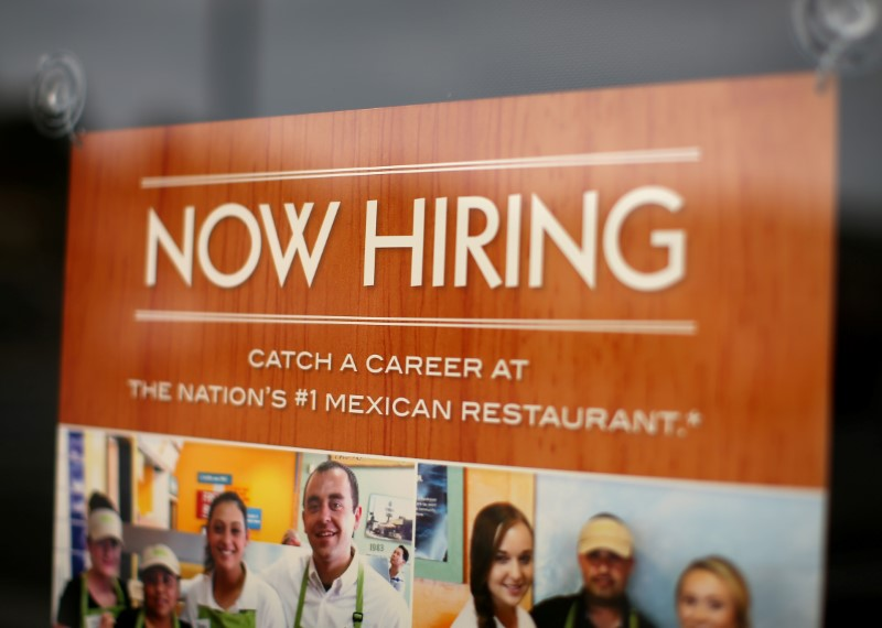 A fast food restaurant advertises for workers on its front window in Encinitas, California, U.S., September 13, 2016. REUTERS/Mike Blake/File Photo