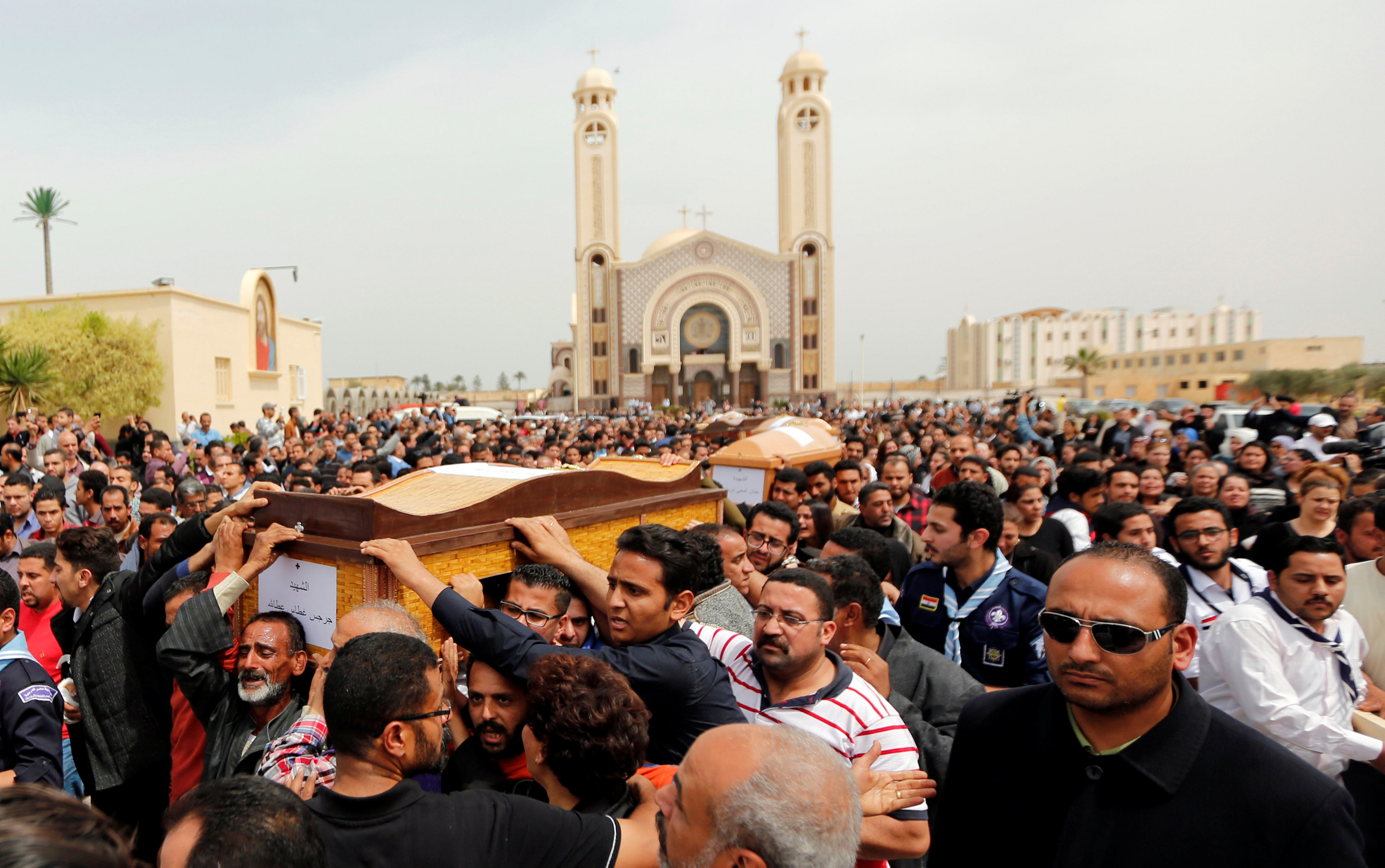 "Relatives mourn the victims of the Palm Sunday bombings during the funeral at the Monastery of Saint Mina ""Deir Mar Mina"" in Alexandria, Egypt"