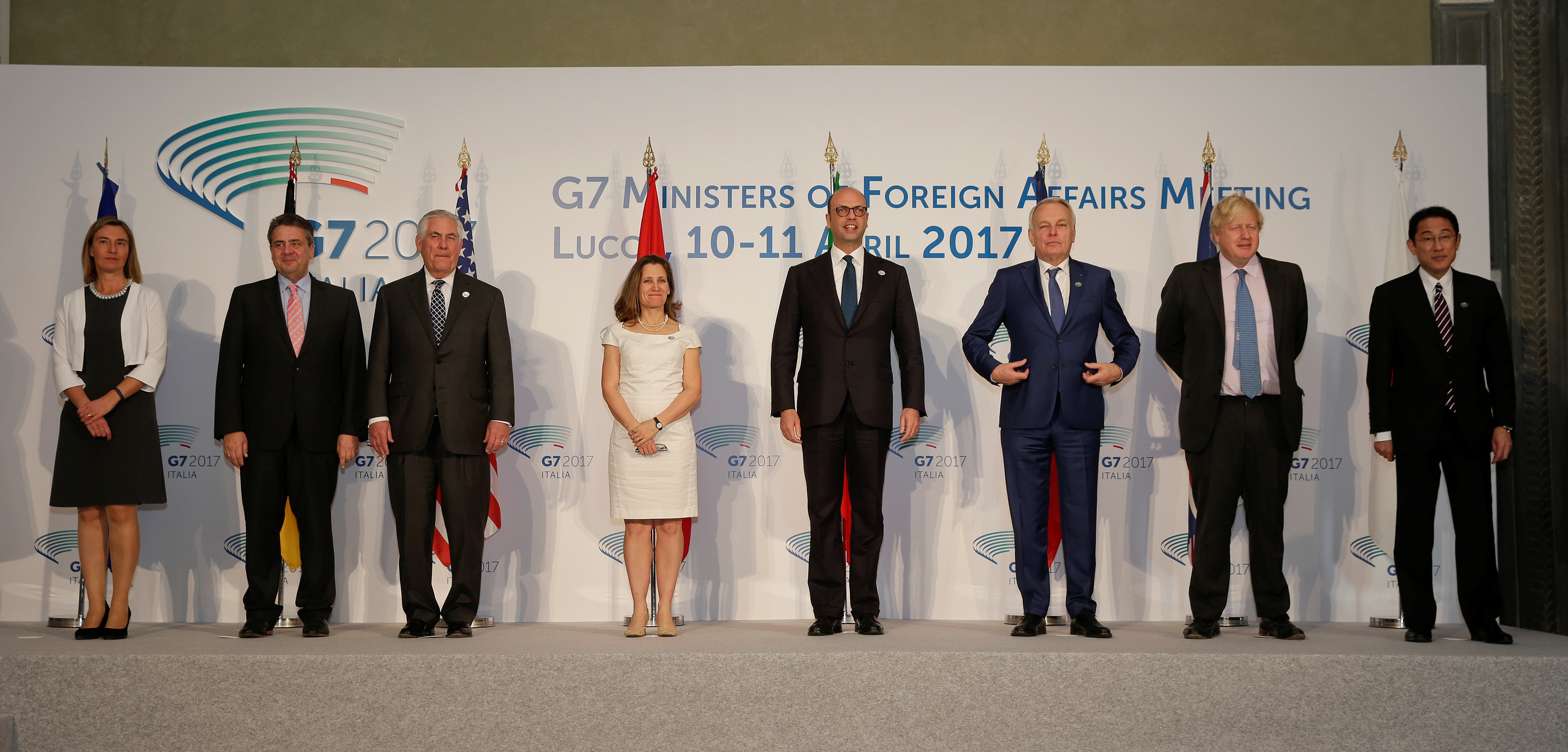 (L-R) E.U. High Representative for Foreign Affairs Federica Mogherini, German Foreign Minister Sigmar Gabriel, U.S. Secretary of State Rex Tillerson, Canada's Foreign Affairs Minister Chrystia Freeland, Italy's Foreign Minister Angelino Alfano, France's Foreign Minister Jean-Marc Ayrault, Britain's Foreign Secretary Boris Johnson, and Japanese Minister of Foreign Affairs Fumio Kishida pose for a family photo during a G7 for foreign ministers in Lucca, Italy April 11, 2017. REUTERS/Max Rossi