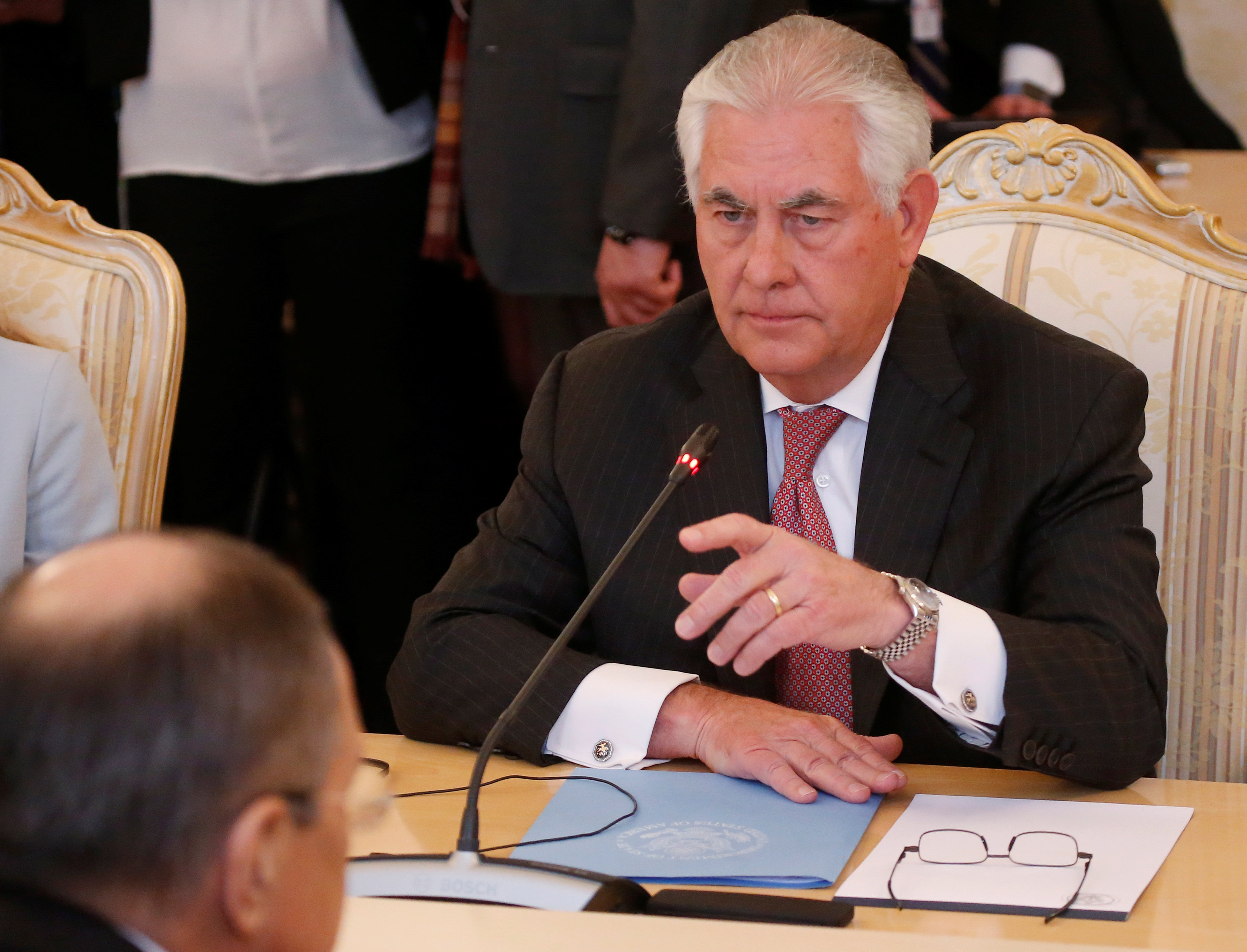 U.S. Secretary of State Rex Tillerson attends a meeting with Russian Foreign Minister Sergei Lavrov in Moscow, Russia