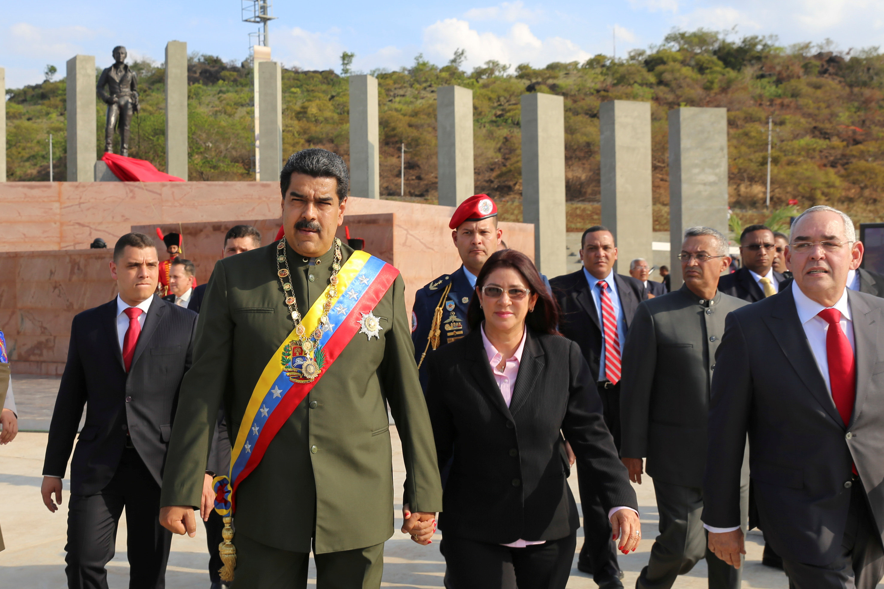 Venezuela's President Nicolas Maduro (2nd L) in San Felix, Venezuela