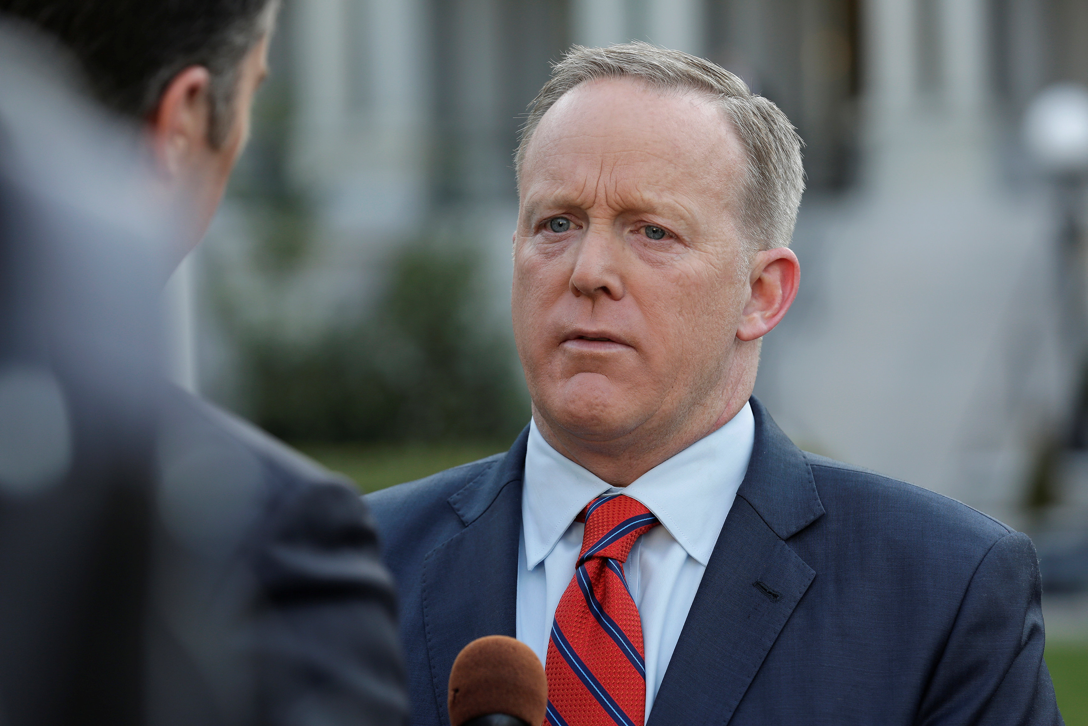 White House Press Secretary Sean Spicer apologizes during an interview for saying Adolf Hitler did not use chemical weapons, at the White House in Washington,