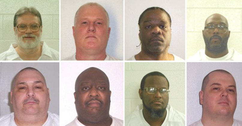 Inmates Bruce Ward(top row L to R), Don Davis, Ledell Lee, Stacy Johnson, Jack Jones (bottom row L to R), Marcel Williams, Kenneth Williams and Jason Mcgehee are shown in these booking photo provided March 21, 2017