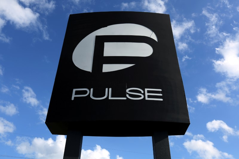 The Pulse nightclub sign is pictured following the mass shooting last week in Orlando, Florida,