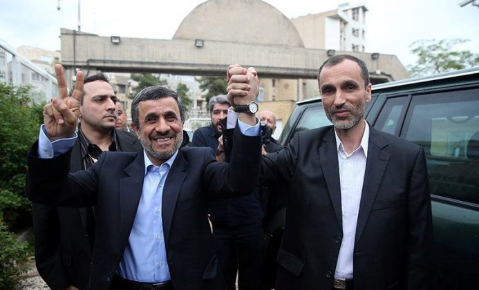 Ex-Iranian President Mahmoud Ahmadinejad gestures as he submits his name for registration as a candidate in Iran's presidential election, in Tehran, Iran April 12, 2017.