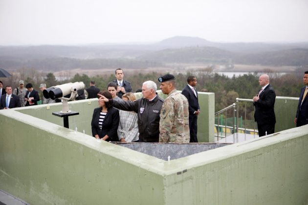 U.S. Vice President Mike Pence looks toward the north from an observation post inside the demilitarized zone separating the two Koreas, in Paju, South Korea,